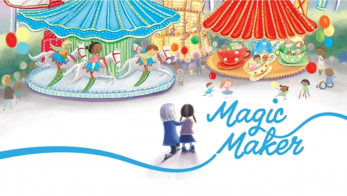 Illustration of Sandy Naramore introducing a child to a theme park; headline: Magic Maker