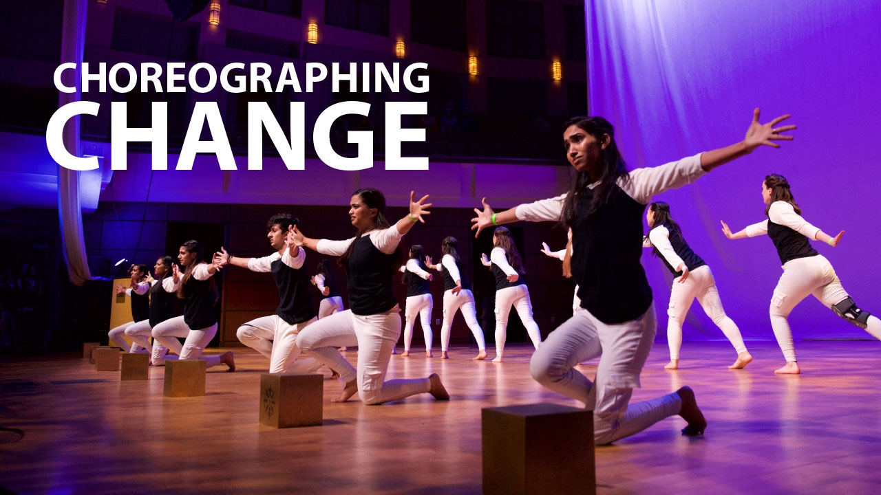Photo of Rangeela members performing; headline: Choreographing Change
