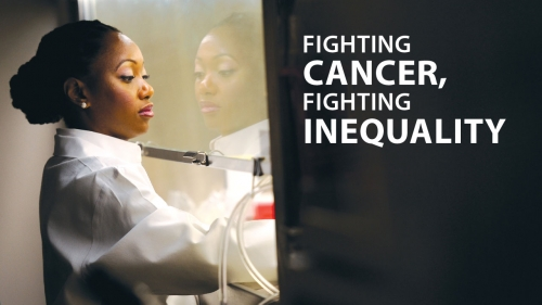 Photo of Hadiyah-Nicole Green in lab; headline: Fighting Cancer, Fighting Inequality