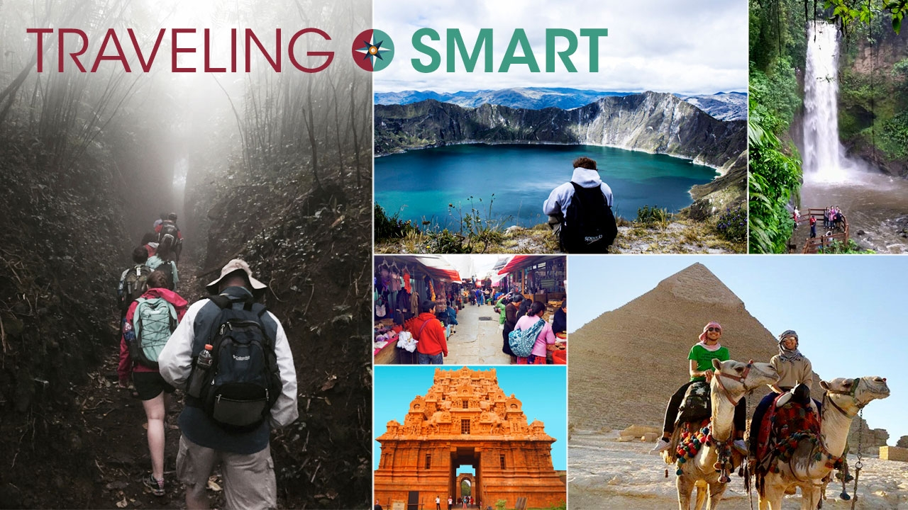Collage of photos taken by UAB students around the world with title: Traveling Smart