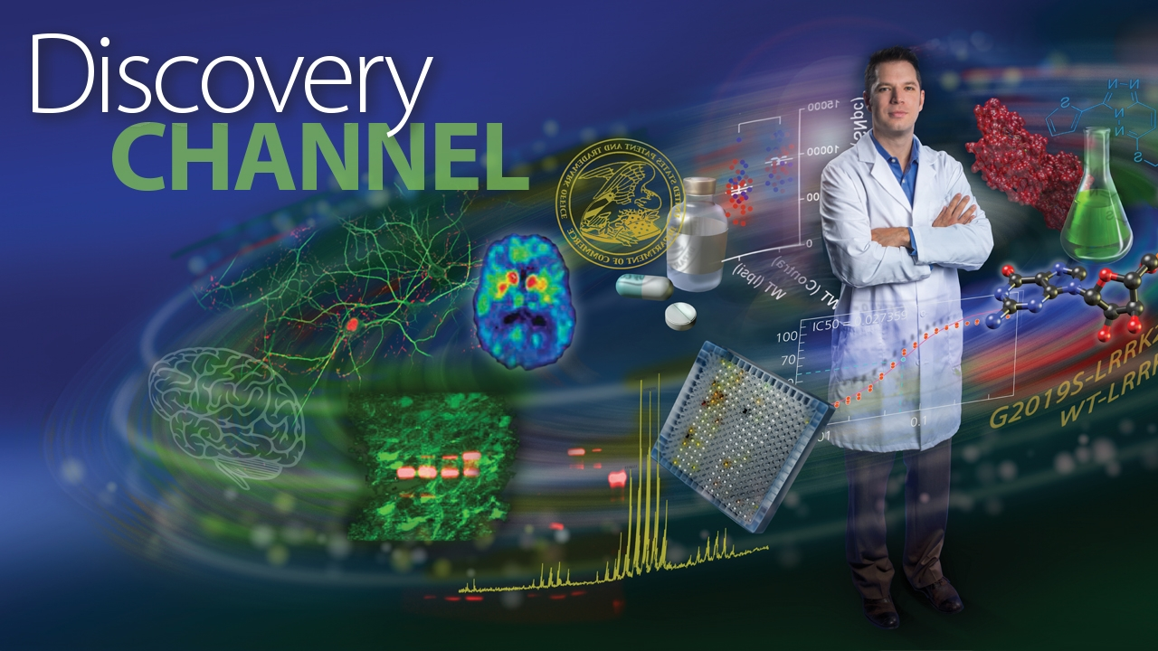Illustration of Dr. Andrew West with elements of drug discovery process