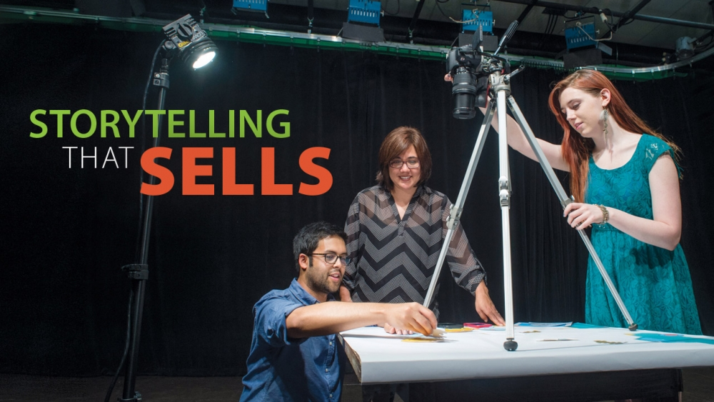 Photo of Rosie O'Beirne working with students on stop-motion animation. Title: Storytelling That Sells