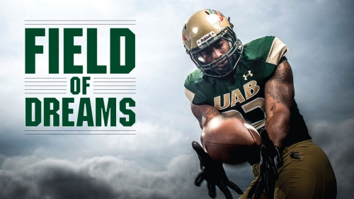 Photo of UAB Blazer Tevin Crews catching ball; title: Field of Dreams