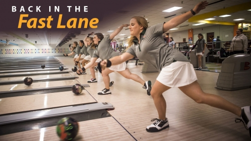 Photo of UAB bowling athletes launching balls down lanes; headline: Back in the Fast Lane
