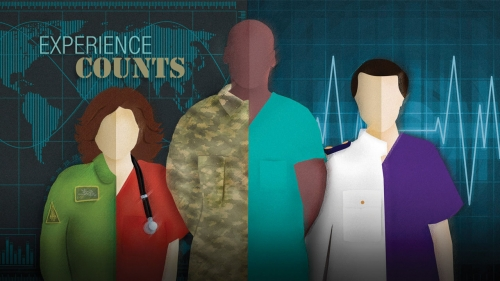 Illustration depicting military veterans becoming nurses