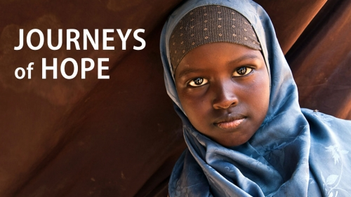 Photo of Somalian child refugee; headline: Journeys of Hope