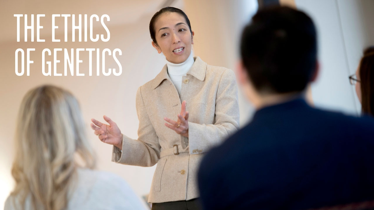 Photo of Mariko Nakano teaching medical students; headline: The Ethics of Genetics