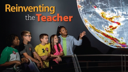 Photo of Kristen Bates teaching students at McWane Science Center