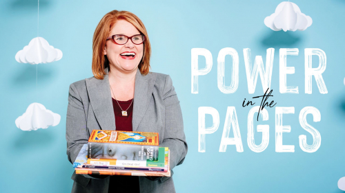 Photo ofJennifer Summerlin holding books in front of blue background with paper clouds; headline: Power in the Pages