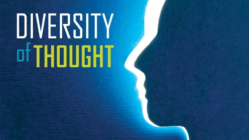 Illustration of head with title: Diversity of Thought