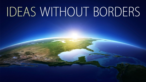 Illustration of sun rising above earth with title: Ideas Without Borders