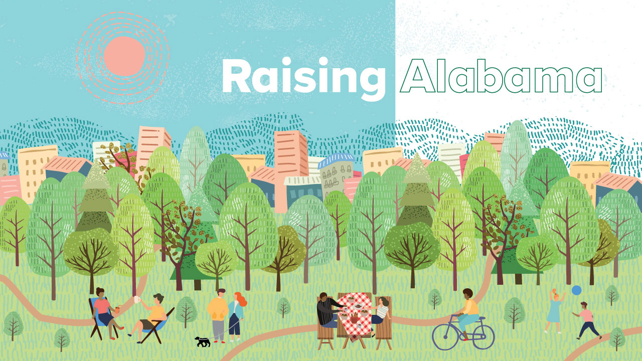 Illustration of people enjoying picnics, running, walking, etc. in a park with a city skyline, sun, and blue sky in background; headline: Raising Alabama