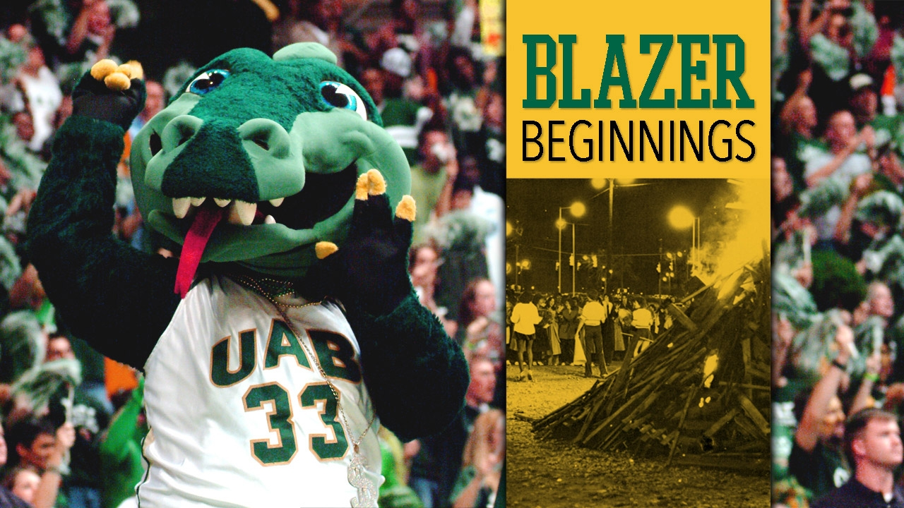 Recent photo of Blaze at basketball game and vintage photo of homecoming; title: Blazer Beginnings