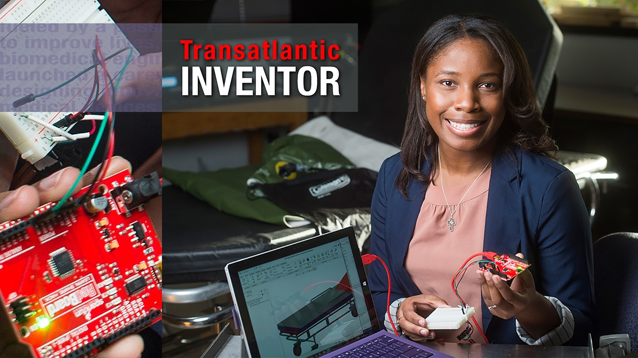 Photo of Ophelia Johnson with glimpses of her inventions. Title: Transatlantic Inventor