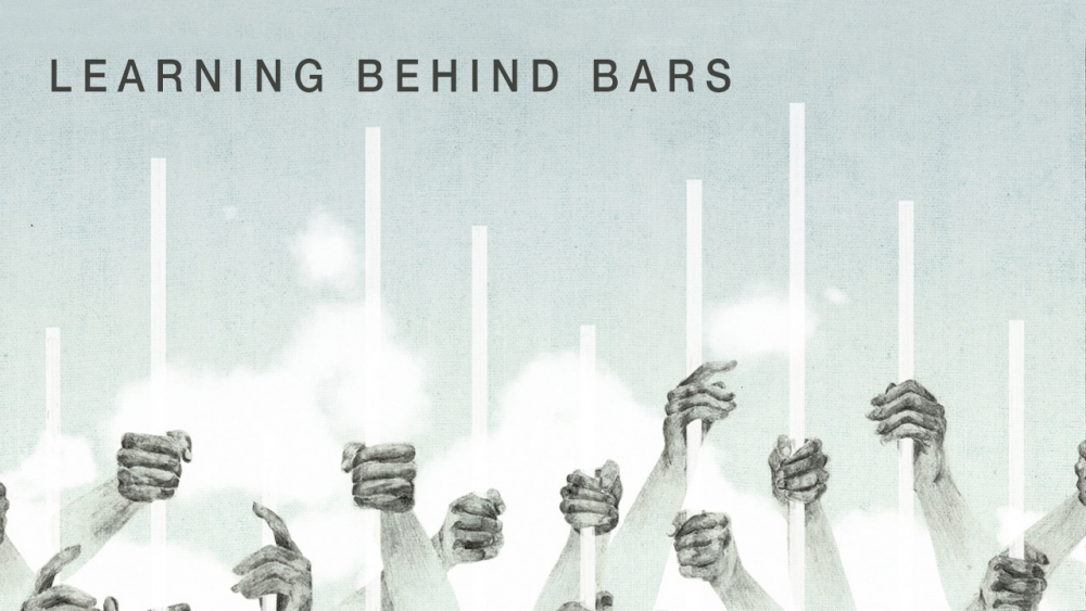 Illustration of hands on bars rising to clouds with headline: Learning Behind Bars