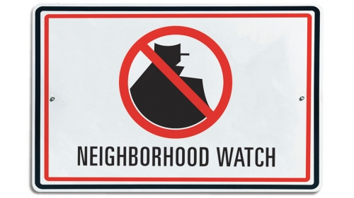 Illustration of sign with Neighborhood Watch icon; headline: Neighborhood Watch