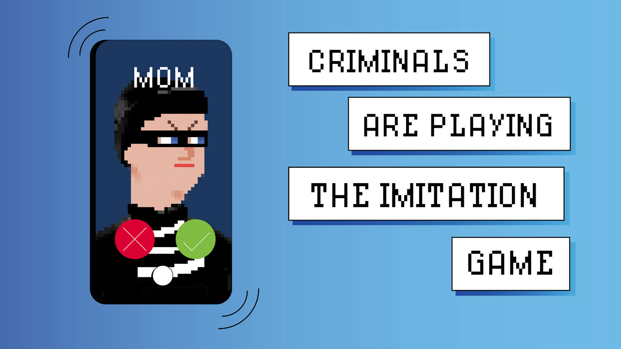 Illustration of smartphone with call from 'Mom' and face of a cartoon masked criminal