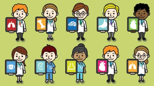Illustration of doctors using iPads