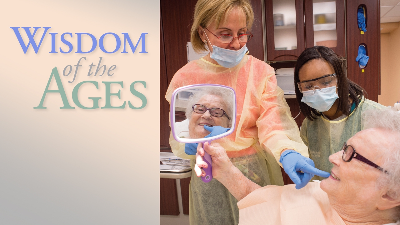 UAB dentist and dental student care for a geriatric patient