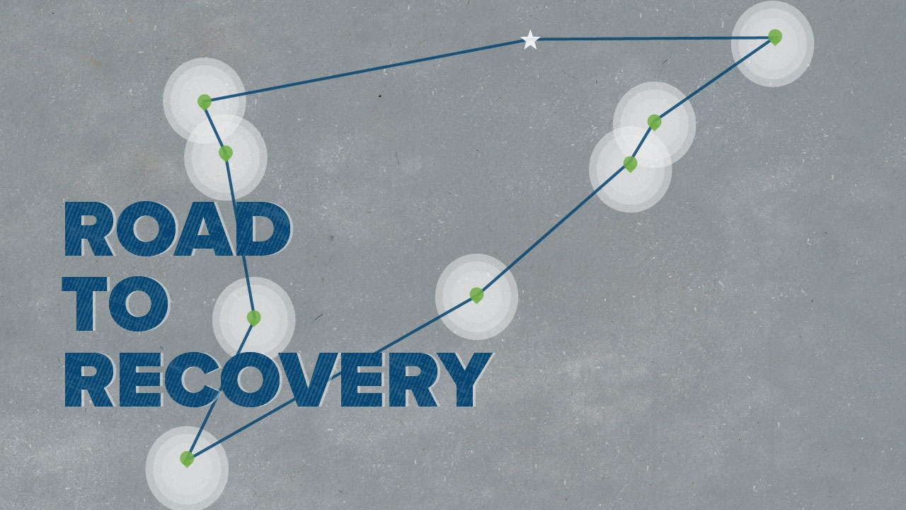 Lines and dots representing student journey; headline: Road to Recovery