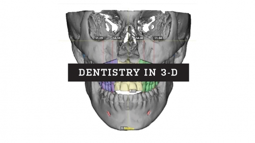Snapshot of a 3D dental scan of patient's teeth and jaw; headline: Dentistry in 3-D