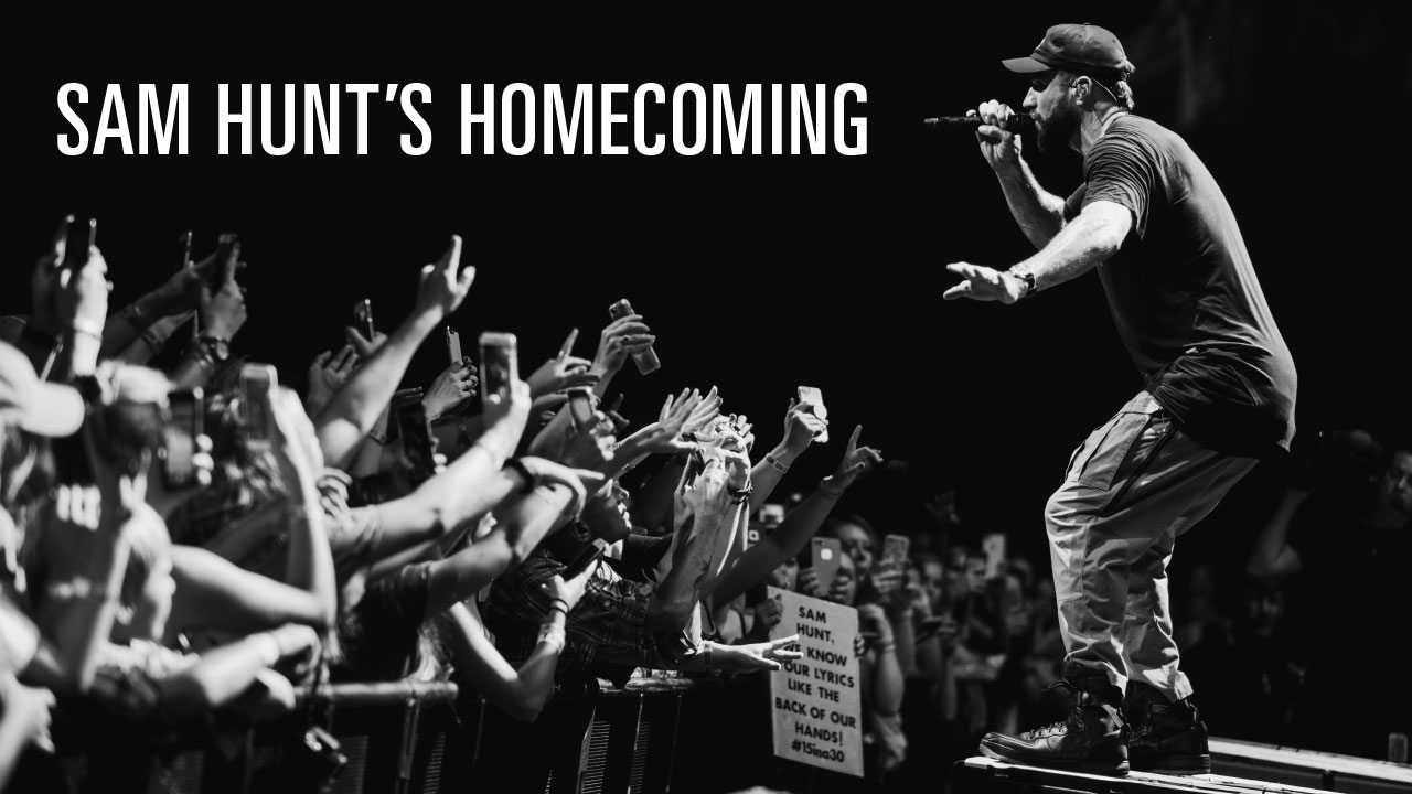 Photo of Sam Hunt performing on stage; headline: Sam Hunt's Homecoming