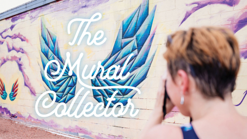 Photo of Viktoria Havasi taking photo of Wings mural in Avondale; headline: The Mural Collector